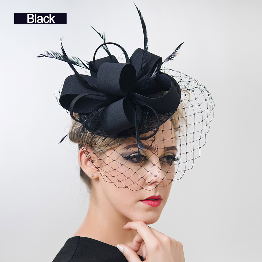 Free Shipping Women Fancy Feather Fascinator Hats Black Birdcage Veil Wedding And Fascinators White Net Hair Accessories In From