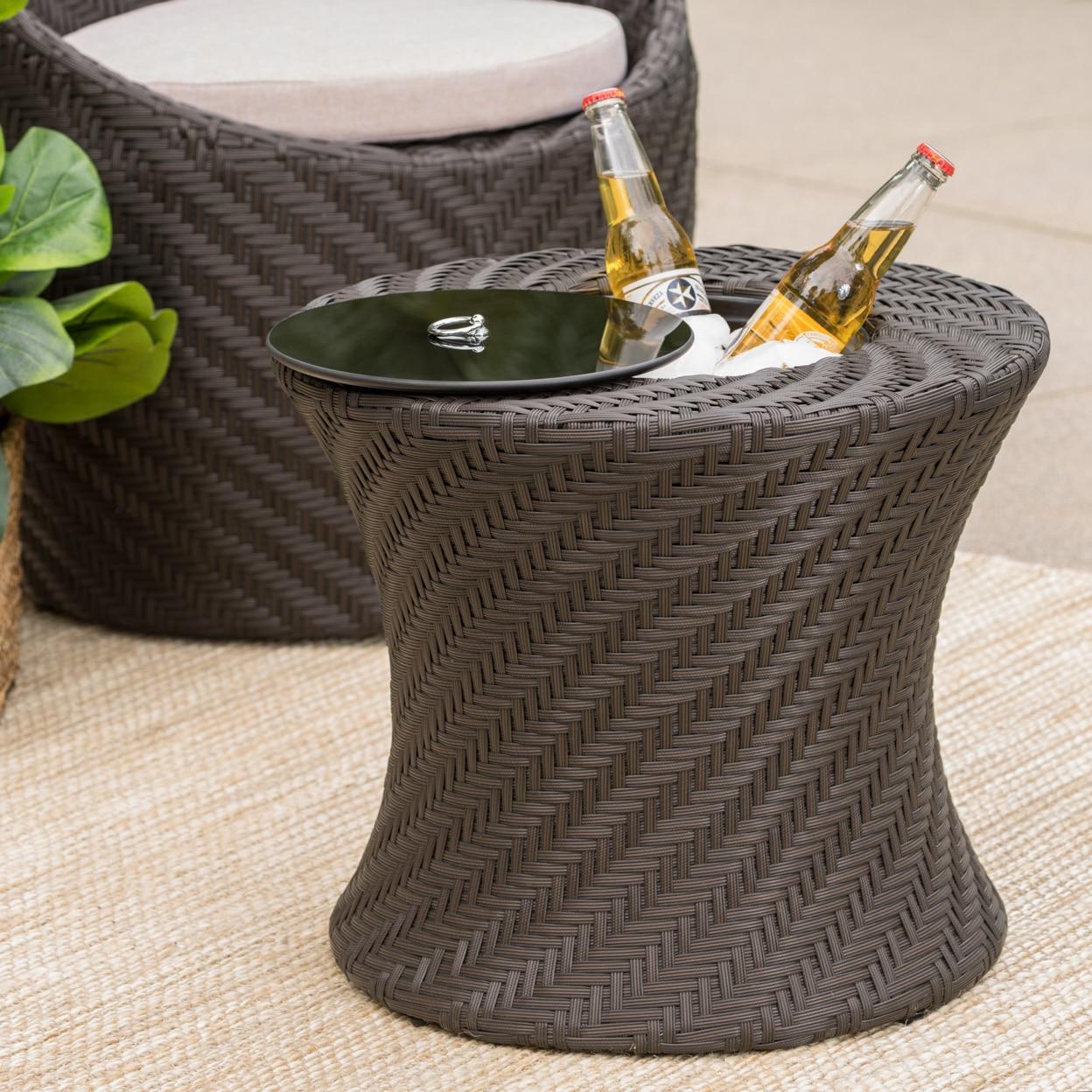 Белен Открытый коричневая плетеная акцент стол с ведро льда