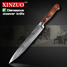 NEW Japanese VG10 Damascus steel 8″ kitchen cleaver knives  fashion sashimi slicing/Carving knife with wood handle FREE SHIPPING