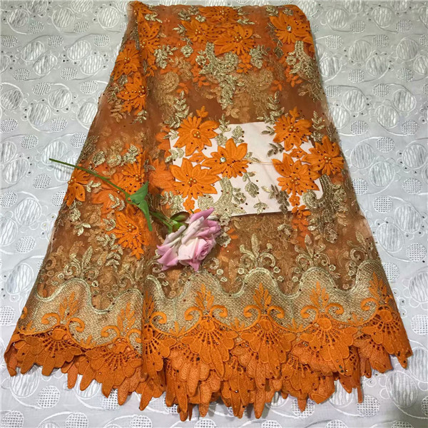 Trustful Nice Orange Embroidery French Lace Cloth Nice Beaded Net Lace Fabric For Evening Dress Vrn180 5yards/lot Exquisite Craftsmanship;