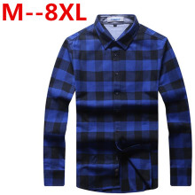 8XL 6XL 5XL 2017 New Autumn Fashion Brand Men Clothes Slim Fit Men Long Sleeve Shirt Men Plaid Cotton Casual Men Shirt Social