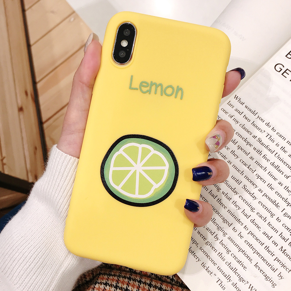 KIPX1090A_1_JONSNOW Phone Case for iPhone XR XS Max 6S 7 8 Plus Embossed Fruit Style Lemon Watermelon Strawberry Patterns Soft Silicone Cover