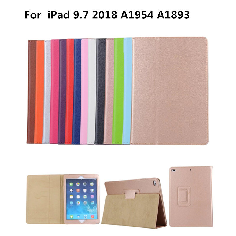 Lichee PU Leather Book Gold Slim Cover Case For New iPad 9.7 inch 2018 Release A1954 A1893 Tablet Folio Stand Smart Cases