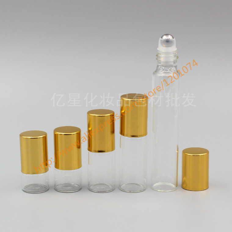 1ml 2ml 3ml 5ml 10ml clear Glass Bottle long neck With stainless roller gold aluminum lid