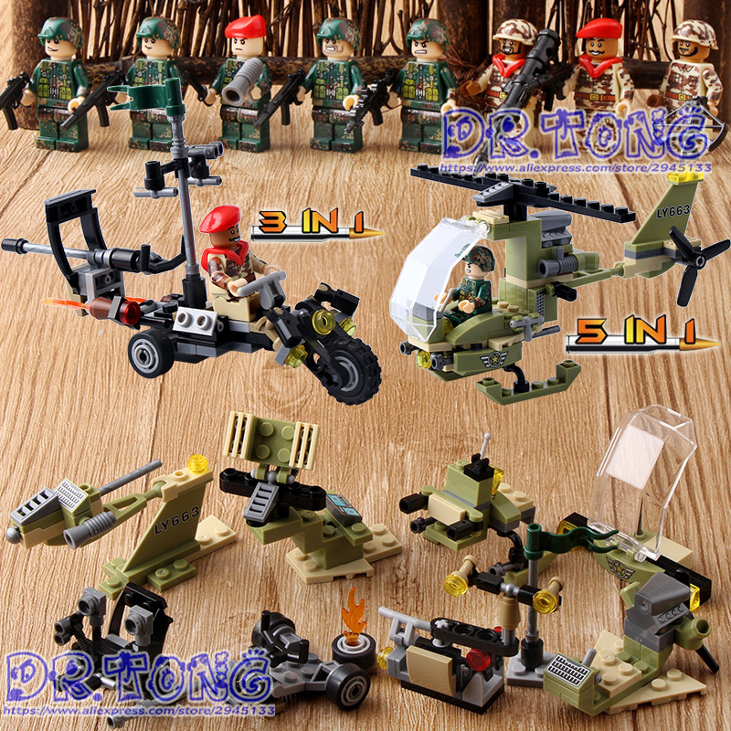 DR.TONG 80PCS/LOT Military Blocks Airplanes Motorcycles Weapons Building Bricks Blocks Education Toys Children Gifts цена