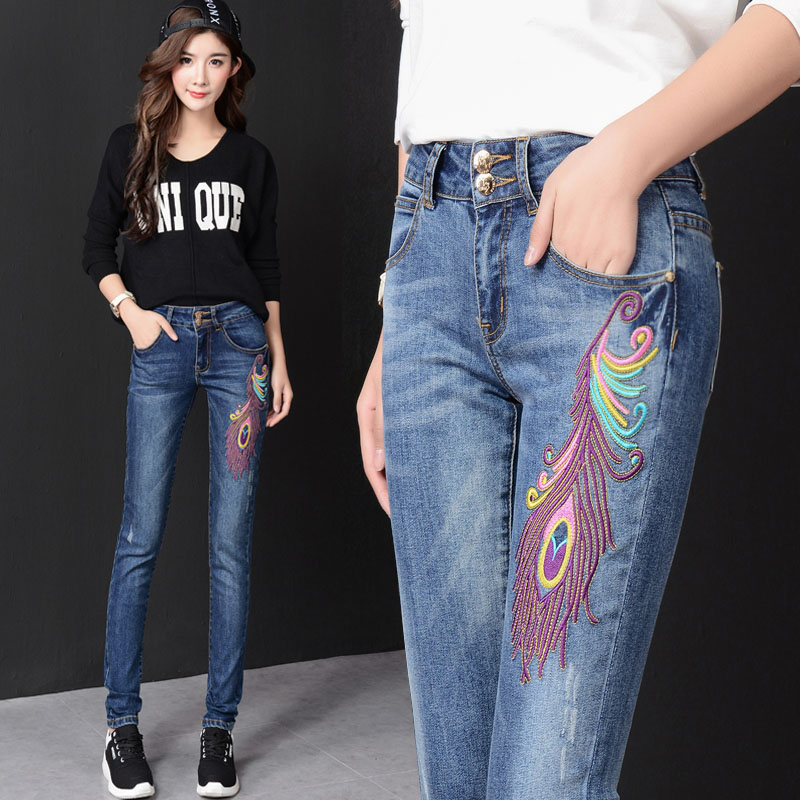 Korean version of the new fall and winter clothes embroidered jeans female trousers pants feet Slim thin national trend TB36 the explosion of the classic all match solid colored body hip high elastic denim pants feet female winter bag mail