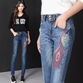 Korean version of the new fall and winter clothes embroidered jeans female trousers pants feet Slim thin national trend TB36
