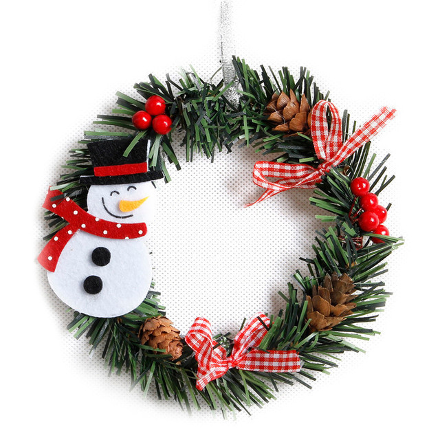 Us 1 0 19 Off Small Christmas Wreath Cartoon With Pines Merry Christmas Wreaths Mini Xmas New Year Garland Nice Gift Xmas Wreath Dia 15cm In Pendant