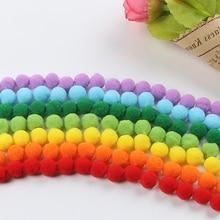 8mm 600 unids/lote pompones suave redondo en forma de bola de piel de pompón para niños manualidades de mano Festival coser ropa de hogar decoración