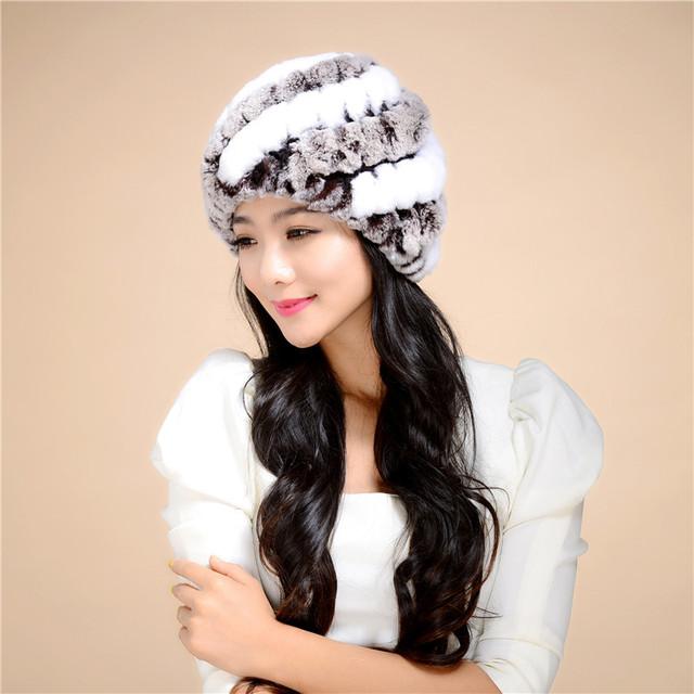 10 color Natural de Alta Calidad de pelo de conejo Rex Fur caps para mujeres patrón de Rayas de Invierno Gorros Sombreros De Piel Cálido y confortable # H9032