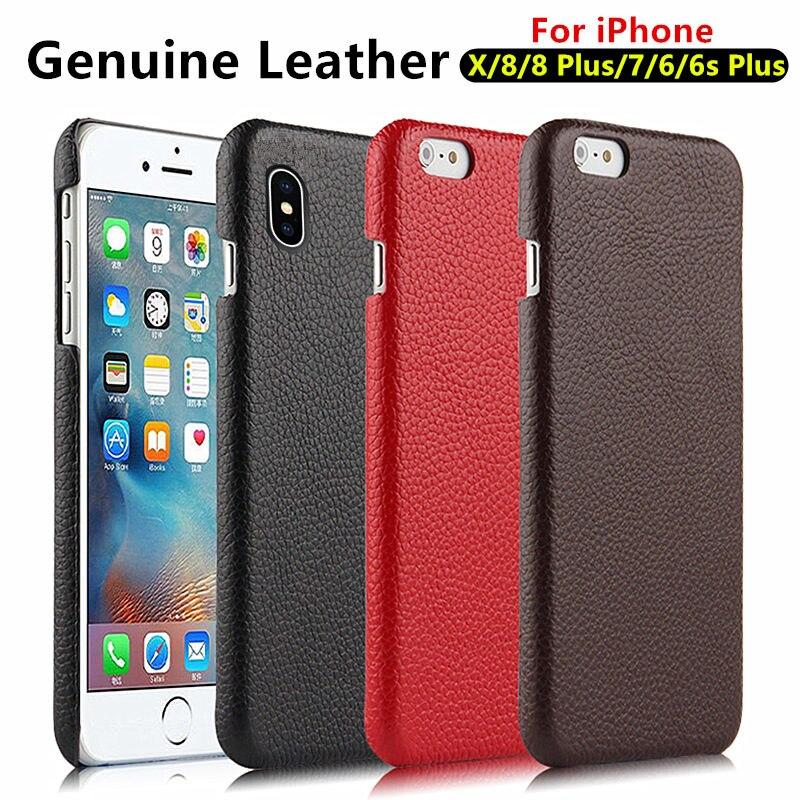 Pour iPhone X Cas 8 Plus iPhone 7 6 s 6 Plus Mobile Cas En Cuir Véritable Peau De Vache de Luxe iPhone8 Plus De Protection shell Téléphone couverture