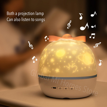 Projetor luz da noite estrela girar projetor trazer sua própria caixa de música seis conjuntos de filme de projeção do miúdo nightlight aniversário
