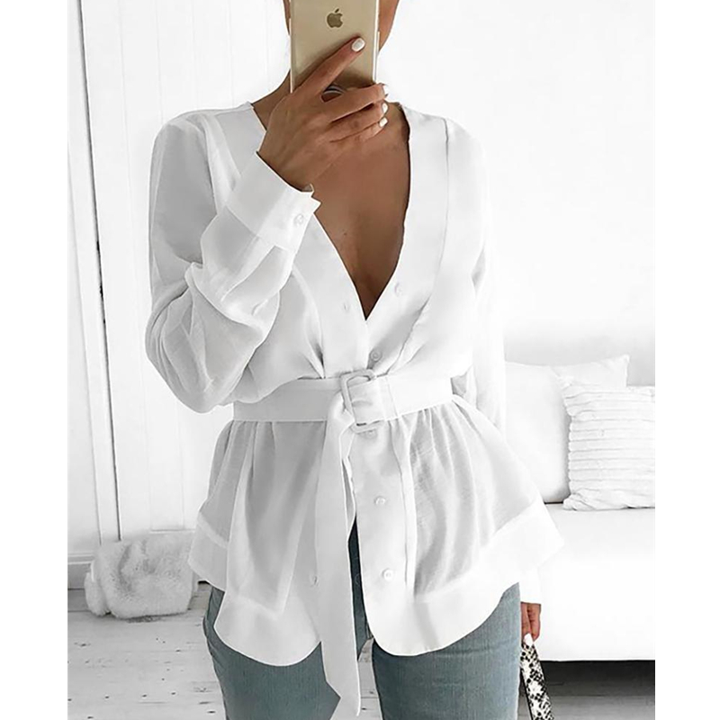 WEMYUJH Women  2019 Women With Belt Tunic Shirt Blouse Long Sleeve Peplum Casual Top OL Workwear Mujer Blusas White Shirts(China)