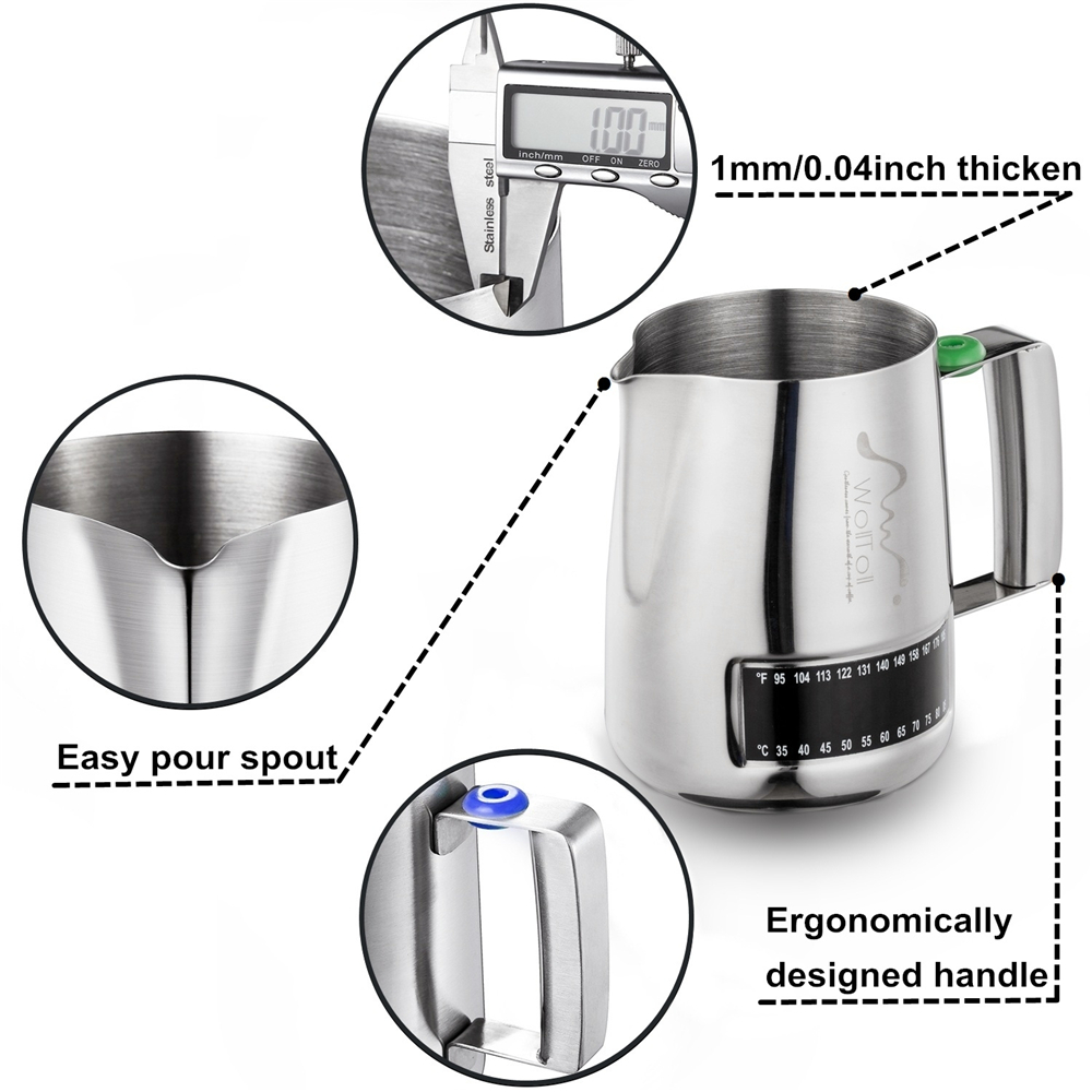 Kitchen Craft Stainless Steel Cappuccino Milk Frother Latte Whisk /& Thermometer