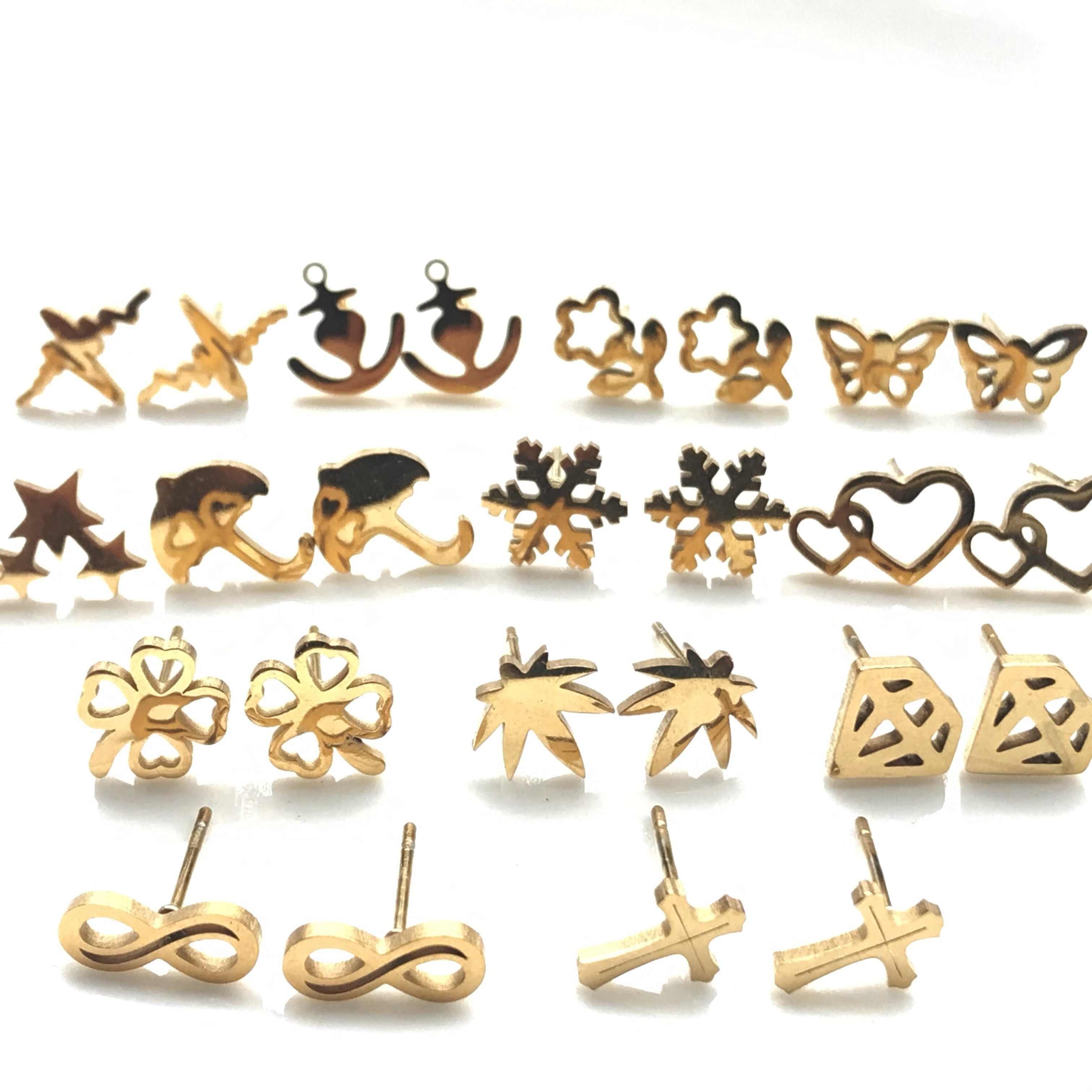 Nowe kolczyki kobiety moda klasyczny ze stali nierdzewnej stadniny kolczyki dla kobiet dziewczyn minimalistyczny koniczyna kolczyki krzyże biżuteria