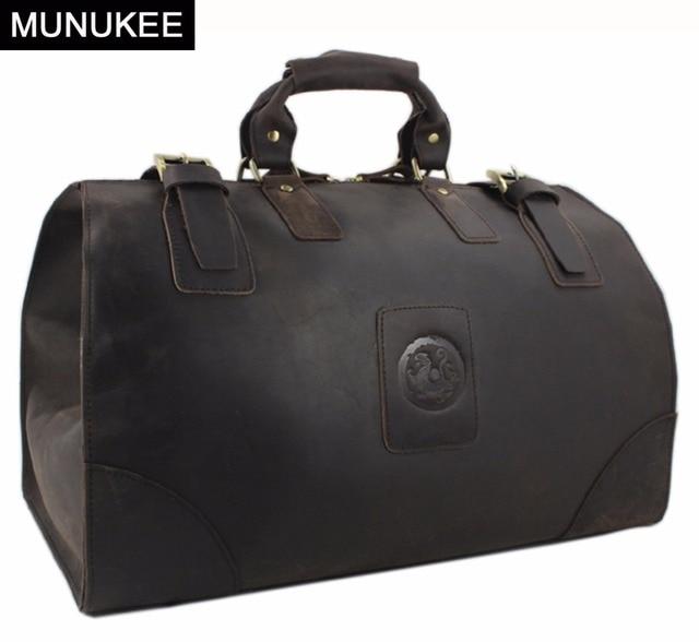 MUNUKEE Vintage bolsa de equipaje hombres bolsa de Viaje de lona de Cuero de Caballo Loco de Cuero Genuino bolso Grande de fin de Semana Bolsa de Asas Grande