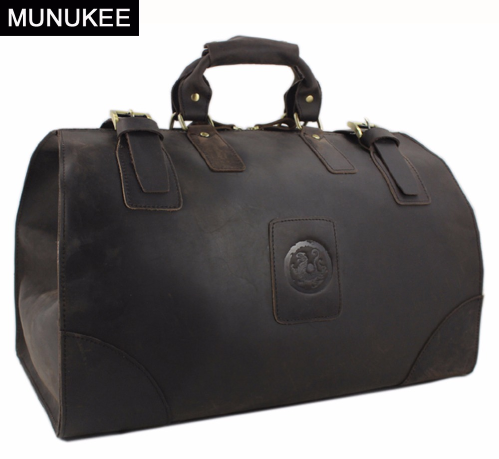 Munukee Vintage Luggage Bag Crazy Horse Genuine Leather Travel Men Duffle Large Weekend Tote