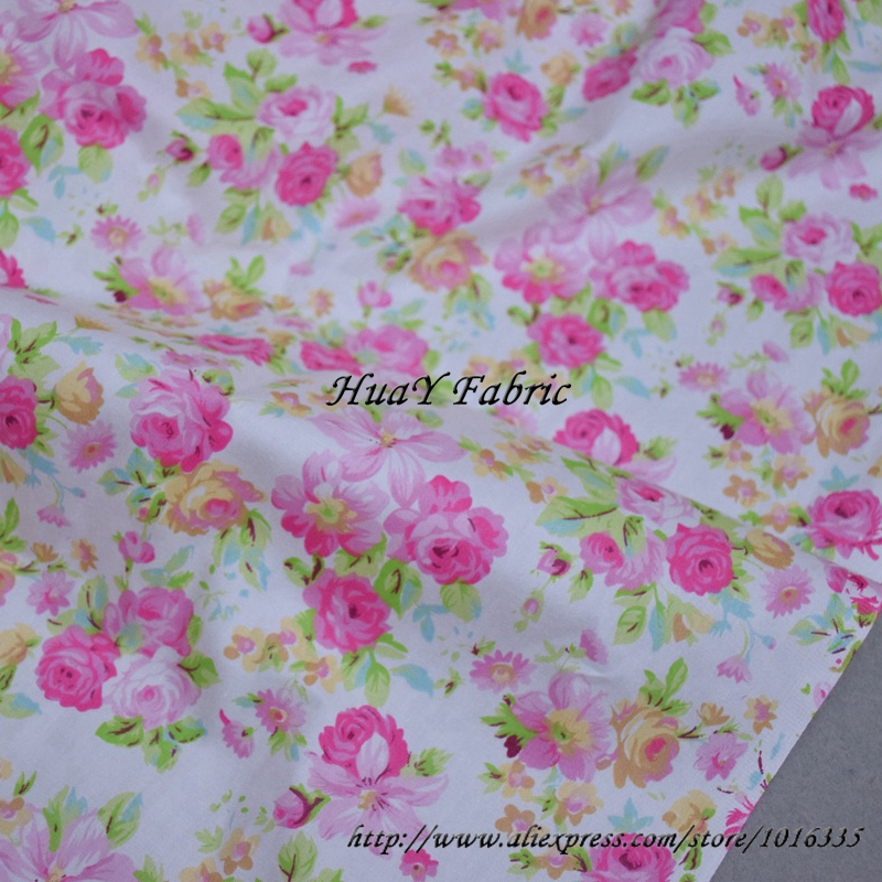 160CM Width Pink Floral Cotton Fabric Meter Twill Weave Patchwork Fabric For Handmade Sewing Girls