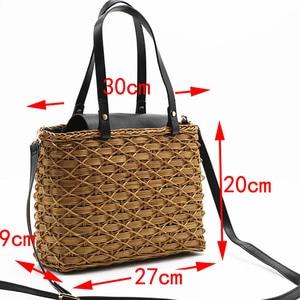 Image 2 - New black camel borsa di paglia rattan naturale di spalla borsa da spiaggia borsa borse tessitura a mano Crossbody bag