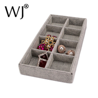 4 Colors Portable Jewelry Display Velvet Tray 8 Grids Ring Bracelet Earring Box Holder Carring Cases