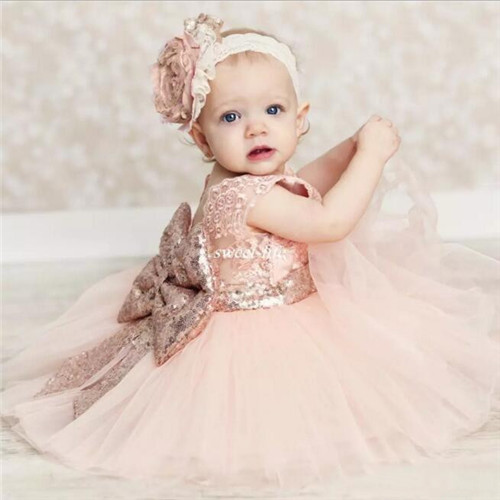 Baby Infant Girls Birthday Party Dresses Blush Pink with Sequins Bow Lace Crew Neck Tea Length Tutu Wedding Flower Girl Dresses hurave 2018 baby girls clothes children sleeveless crew neck mesh tutu dresses causal striped cotton infant lace shirts dress