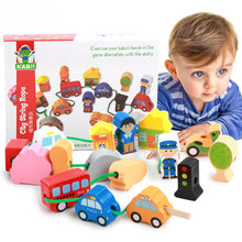 Fun Wooden Blocks Baby toys Stringing Threading Beads Game City Traffic Farm Animals Blocks Early Education Toy For Kids Gifts(China)