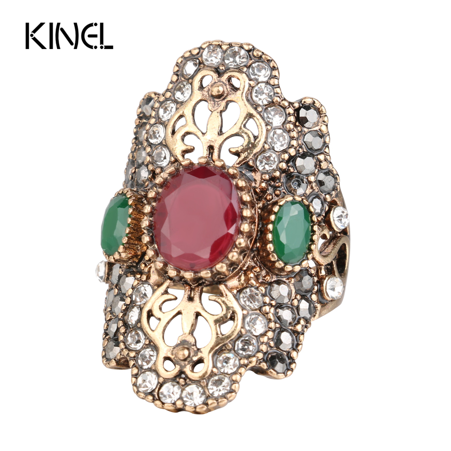 2017 New From India Unique Red Antique Ring Color Ancient Gold Vintage Crystal Rings For Women Party Jewelry