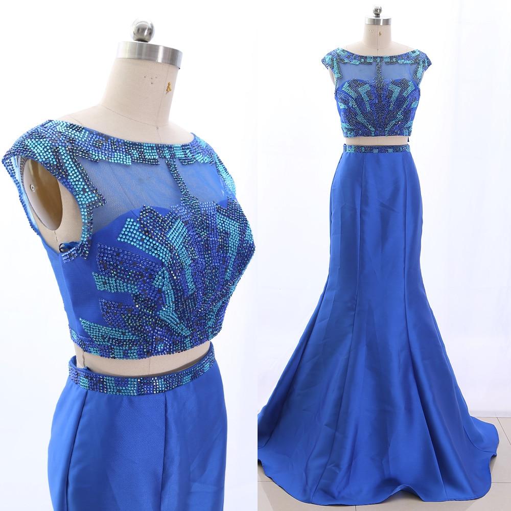 MACloth Blue Mermaid Scoop Neck Floor-Length Long Crystal Tulle   Prom     Dresses     Dress   S 265535 Clearance