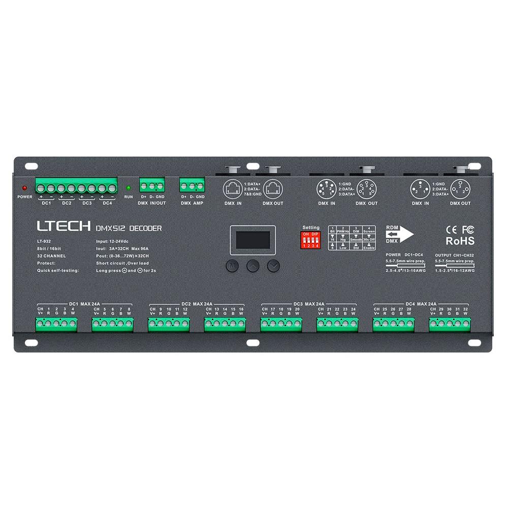LTECH LT-932 32 Channel DMX-PWM Decoder;DC12-24V input;3A*32CH Max 2304W output DMX512 Decoder Led RGB/RGBW Strip XLR-3/RJ45 new ltech led dmx decoder 4ch cc rgb strip dmx decoder dc12 48v in 700ma 4ch output dc12 46v output 4 channel dmx pwm decoder