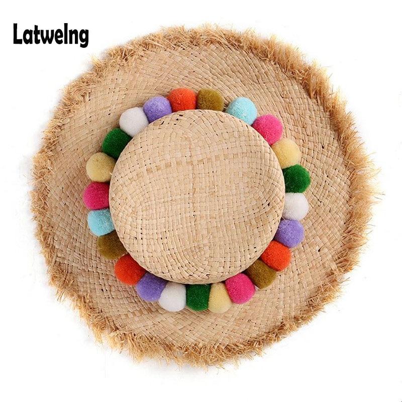 NEW Handmade Colorful Pom Pom Raffia Straw Sun Visor Hats For Women Lady Foldable Summer Panama Cap Wide Large Brim Beach Hat