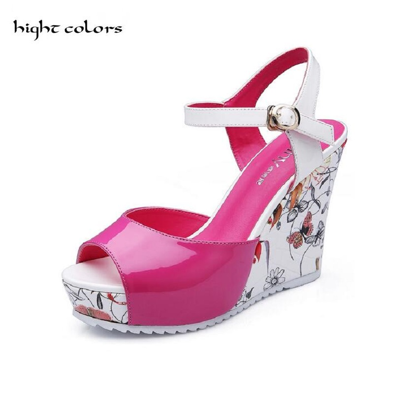 Size 30-43 Women Sandals 2017 Summer New Open Toe Fish Head Fashion platform High Heels Wedge Sandals female shoes women HC55 women sandals 2017 summer new open toe fish head fashion platform high heels ladies wedge sandals female shoes genuine leather