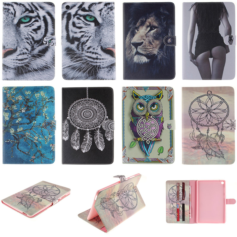 Fashion Cartoon Tiger Lion Pattern PU Leather Wallet Style Flip Case For Asus ZenPad S 8.0 Z580CA Back Cover With Card Holder