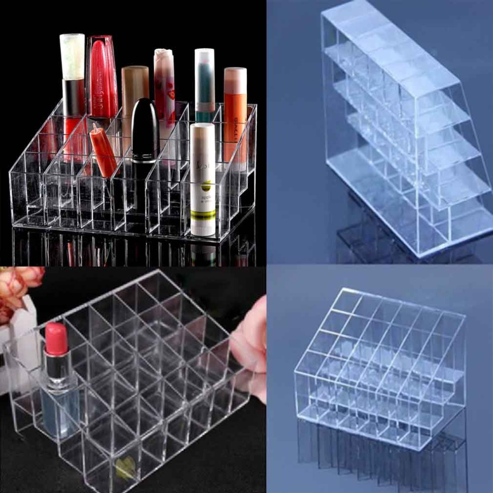 2016 Hot Clear Acrylic Trapezoid 24 Lipstick Holder Sundry Display mascara Stand Cosmetic Organizer Makeup Case storage box