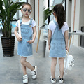 Girls Clothing Sets Pullover T-Shirts For Girls Denim Dresses Kids Tees & Overalls 2Pcs Summer Girls Outfits 6 8 10 12 14 Years