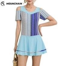 Women Fashion One Piece Swimsuit Stripes Printing Dress Briefs Swimwear Bright Color Bikinis