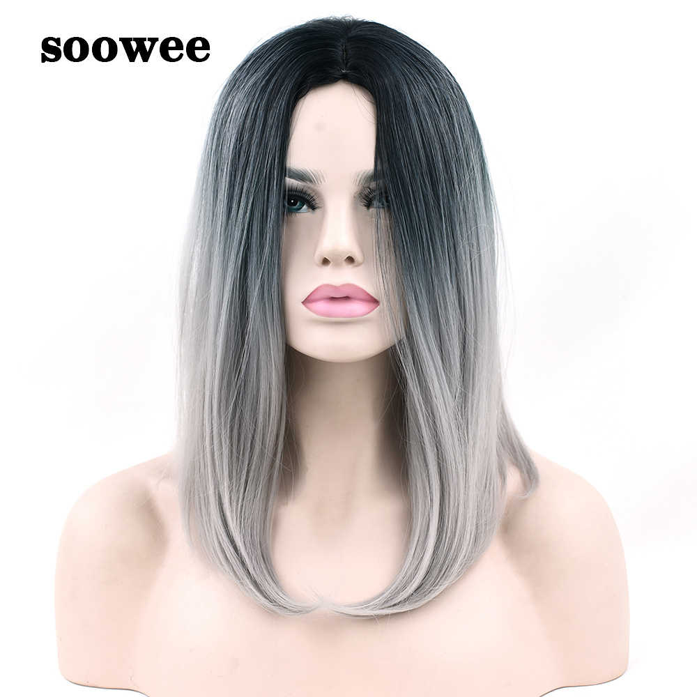 Soowee pelo sintético Ombre gris pelo estilo Bob pelucas cortas para mujeres negras fiesta Cosplay peluca ACCESORIOS DE DISFRACES