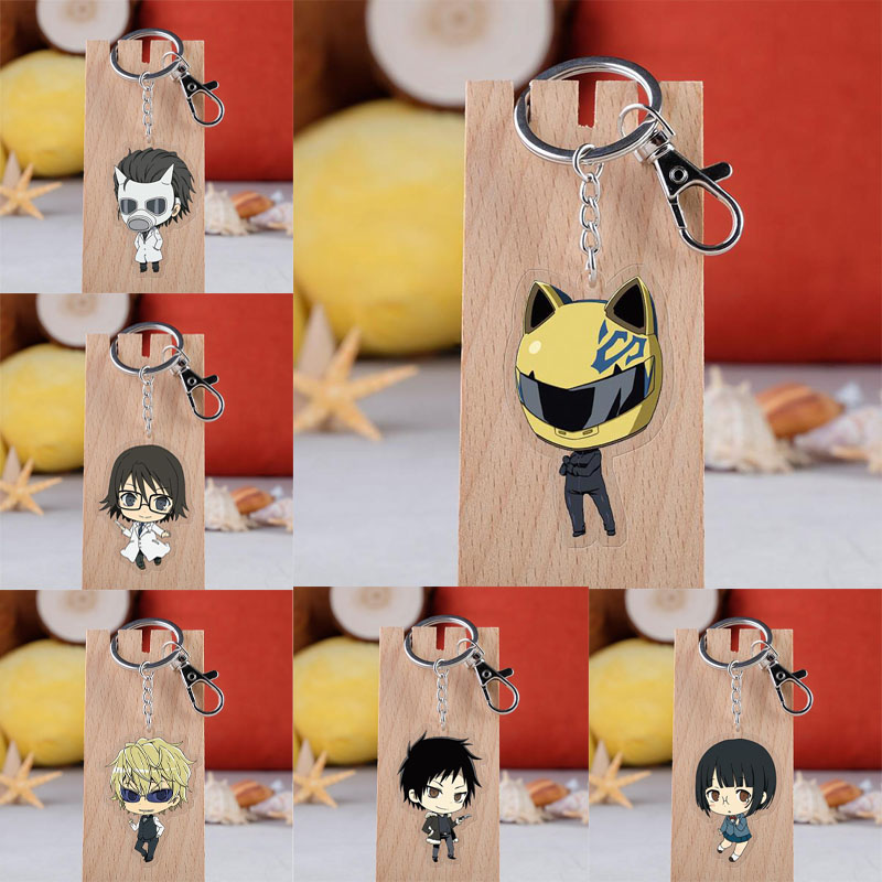 Anime Durarara!! 3way Standoff Keychain Cartoon Figures DRRR Orihara Izaya Acrylic Key Ring