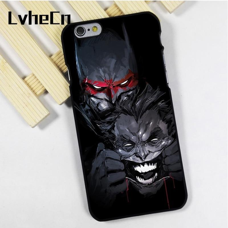 LvheCn phone case cover fit for iPhone 4 4s 5 5s 5c SE 6 6s 7 8 plus X ipod touch 4 5 6 The Batman Vs Joker Art Amazing