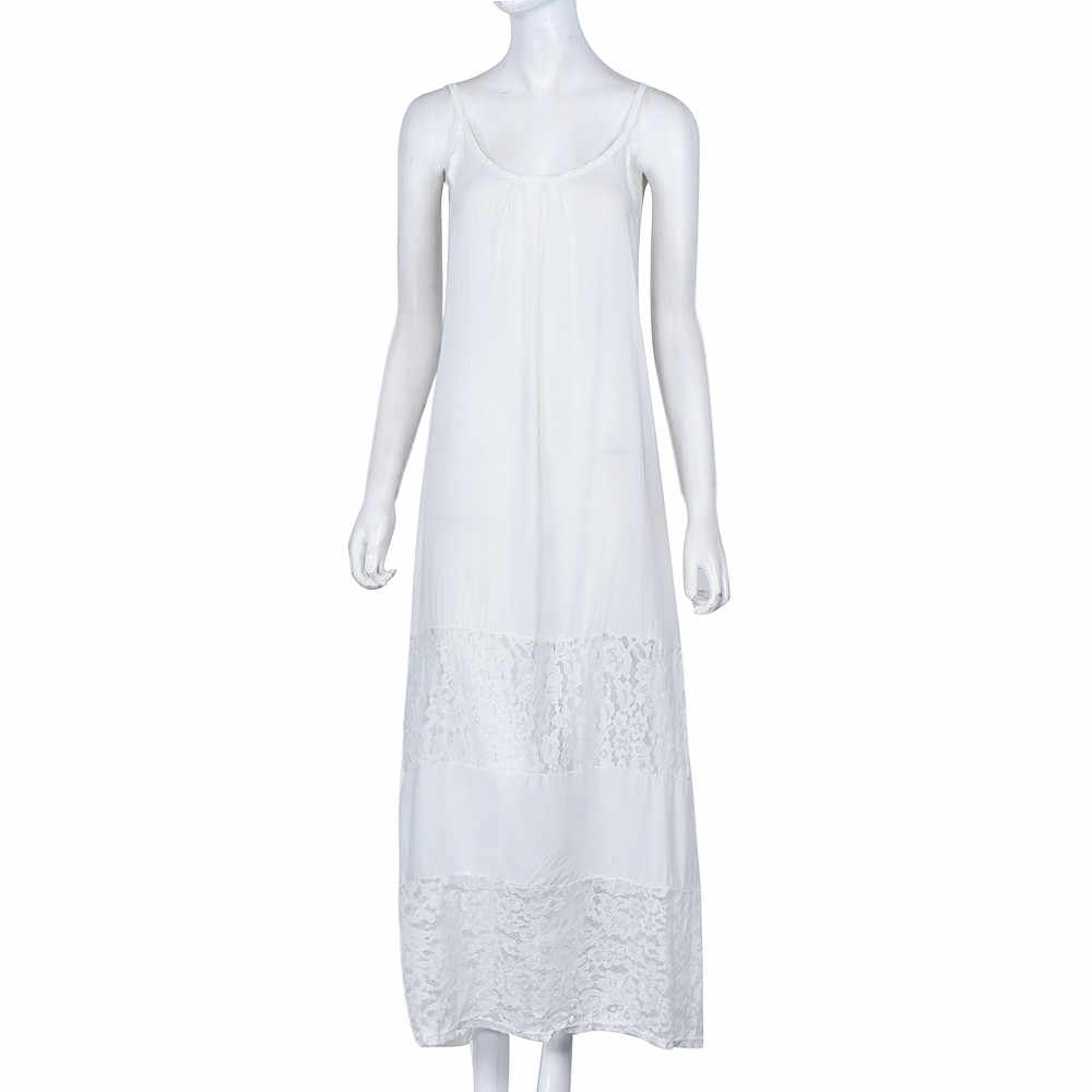 1527bee9d7f6f 2019 Women white Dress robe pull sexy Summer Casual Lace Long Maxi Party  Beach ladies Dress vestidos mujer sukienki jurk #YL