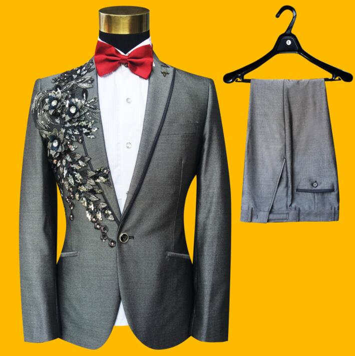 Drill blazer men groom suit set with pants mens wedding suits costume singer star style dance stage clothing formal dress grey(China)