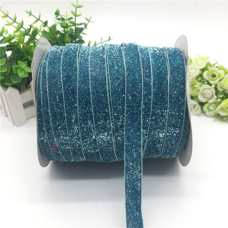 """5 ярдов 5/""""(15 мм) бархатная лента для украшения свадебной вечеринки лента ручной работы подарочная упаковка бантик для волос DIY Рождественская лента - Цвет: Glitter Blue"""
