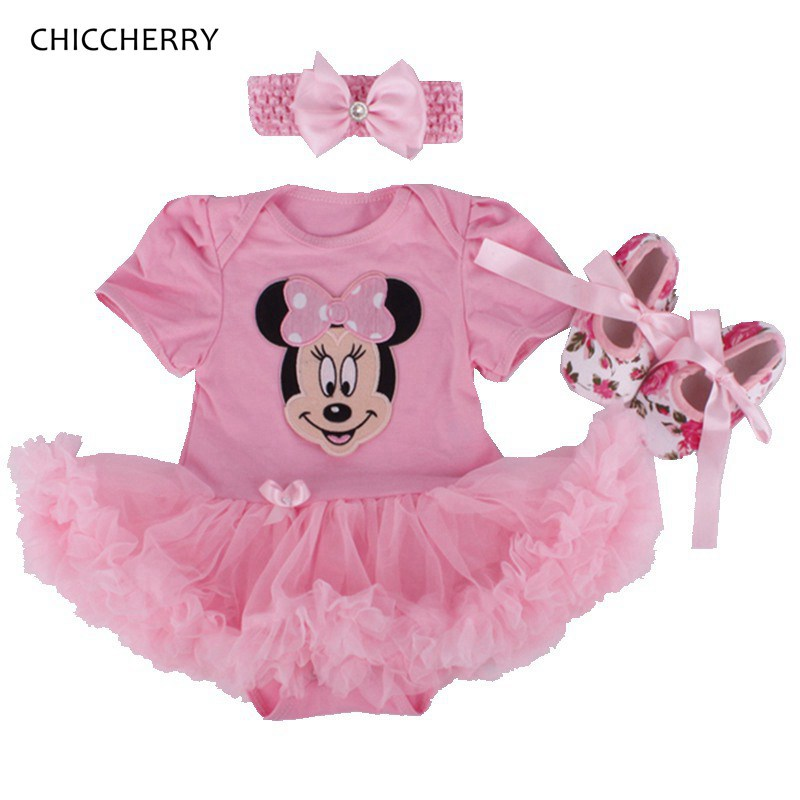Cute Minnie Tutus Kids Party Dresses For Girls Birthday Outfits with Headband Crib Shoes Roupas De Bebe Newborn Baby Girl Set