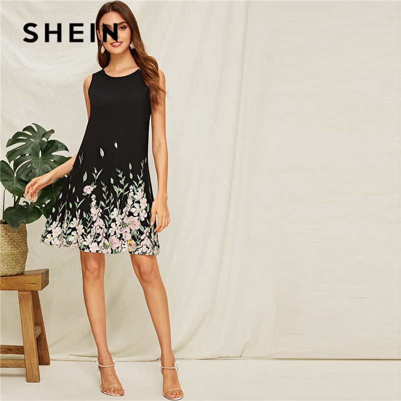 SHEIN Flower And Leaf Print Trapeze Summer Dress Women Boho Sleeveless Round Neck Black Dress A Line Casual Mini Dresses