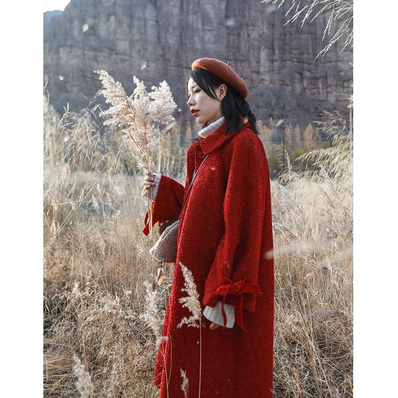 Jessica store s store outono inverno feminino doce senhora bonito lanterna manga casual solto lantejoulas grosso quente vermelho longo casaco de lã - 3