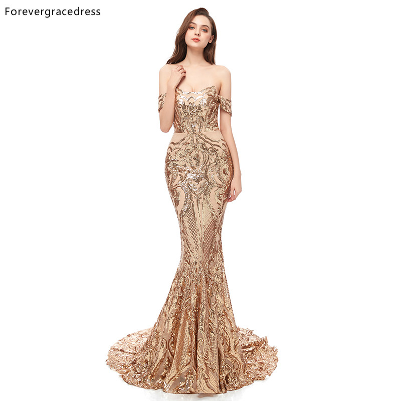 Forevergracedress Gold   Prom     Dresses   2019 Off Shoulder Backless Holidays Graduation Wear Party Gowns Plus Size Custom Made
