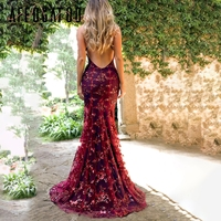 Affogatoo Sexy mesh sequins long party dress female Elegant backless lace maxi dress women Robe spaghetti strap long dress 2018