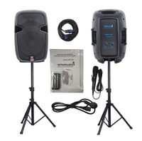 STARAUDIO 1 Set 12 2000W Pro PA DJ Stage Power Active Bluetooth Speakers with 2 Stands 1 Wired Mic SSD 12A