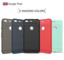 """Dla Google Pixel 5.0 """"przypadku szczotkowane, odporna na wstrząsy, odporna na wstrząsy, miękka TPU etui do Google pikseli XL 5.5"""" z włókna węglowego coque"""