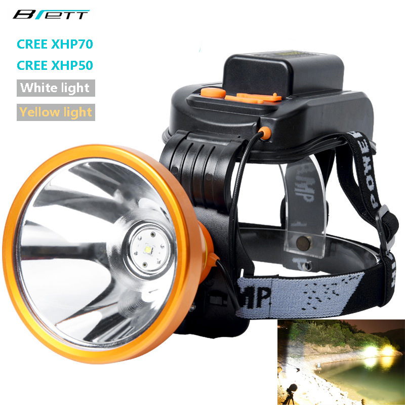 Headlight cree xhp70 or xhp50 lamp beads Built in 6 18650 lithium battery Direct charging Hunting