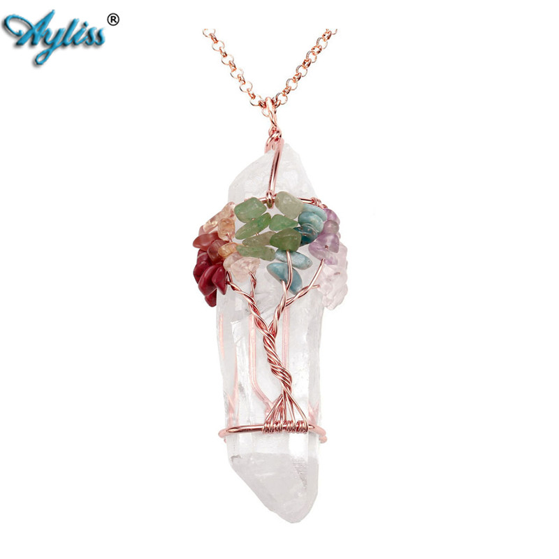 2017 Ayliss Fashion 1pc Chakra Gem Stone Tree of Life Wire Wrapped Natural Clear Quartz Healing Crystal Point Pendant Necklace